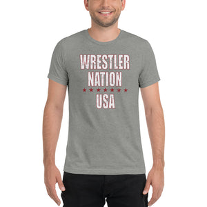 Men's Short Sleeve Wrestler Nation USA T-Shirt
