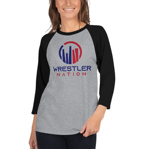 Unisex Baseball Shirt: 3/4 Sleeve Wrestler Nation Shirt