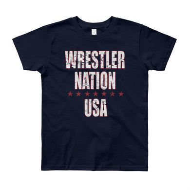 Youth Boys and Girls Short Sleeve Wrestler Nation T-Shirt