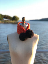 Load image into Gallery viewer, Loopy Dee Loop! Orange with Black PomPoms