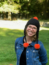 Load image into Gallery viewer, Handmade Aviator Hat | Black with Orange PomPoms