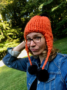 Handmade Aviator Hat | Orange with Black PomPoms