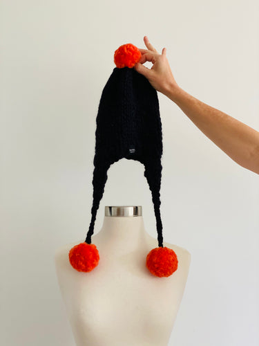 Handmade Aviator Hat | Black with Orange PomPoms
