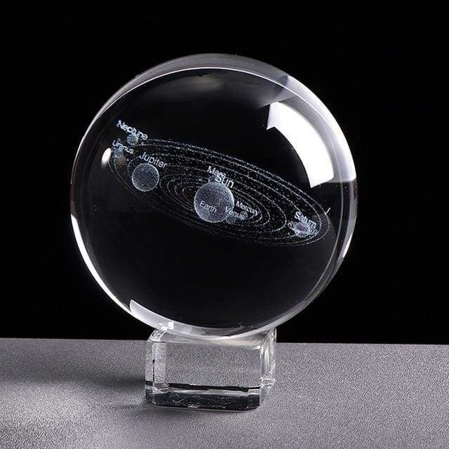 Engraved Solar System Crystal Ball.