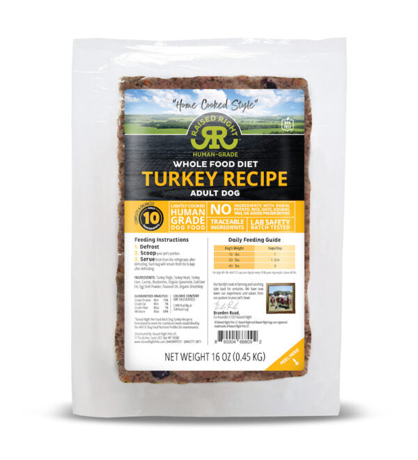 Raised Right Adult Dog Recipe - Turkey 16oz Frozen Flexible Tray