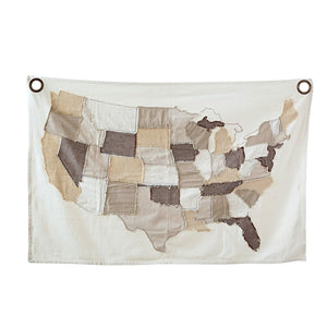 Cotton Stitched USA Map