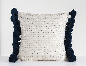 Navy and Gold Embroidered Pillow, Tassels