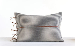 Ticking + Leather Pillow