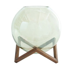 Glass Ball Vase + Stand, L