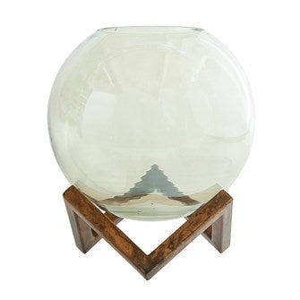 Glass Ball Vase + Stand, S