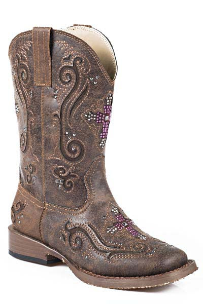 Roper Vintage Brown w/ Crystal Cross Boots - 0901819010098