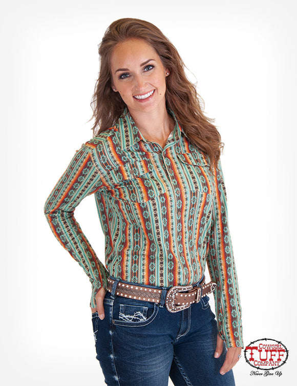 Cowgirl Tuff Coral Aztec Sport Jersey Pullover - 100321