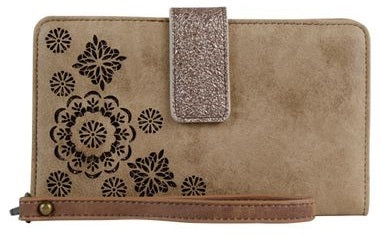 HOOey Western Mens Wallet Rodeo Leather Rustic Canvas Cut Out Brown 1623137W6