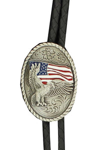 Double S Flying Eagle Flag Bolo Tie - 22612