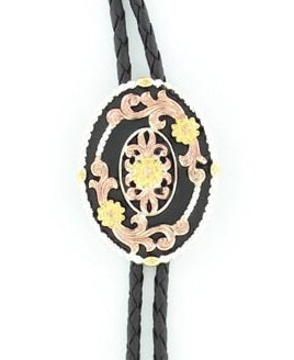 Double S Tri Color Oval Western Floral Engraved Concho Bolo Tie - 22830