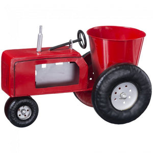 Red Metal Tractor Planter