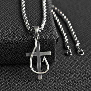 Twister Cross and Fish Hook Necklace - 32134