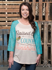 "Southern Grace Raglan ""Raised On Country Sunshine"" - 3368C"