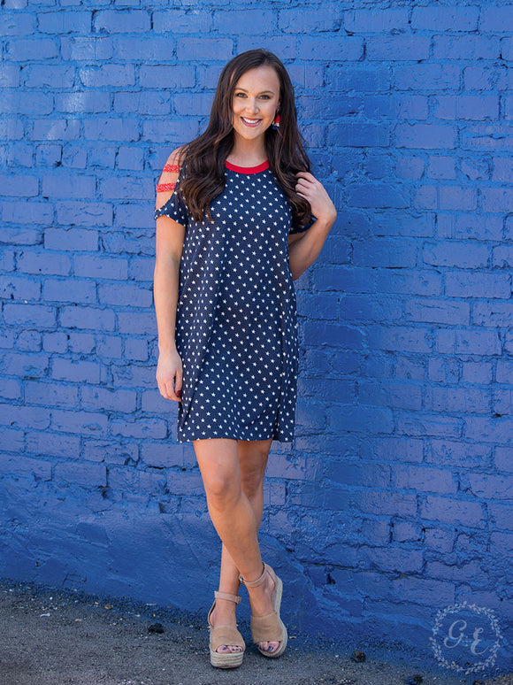 Grace & Emma Star Spangled TShirt Dress - 4883B