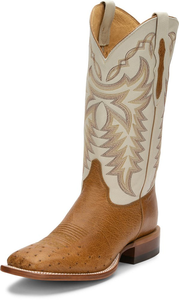 Justin Pascoe Antique Saddle Maddog Smooth Ostrich Boot - 8294