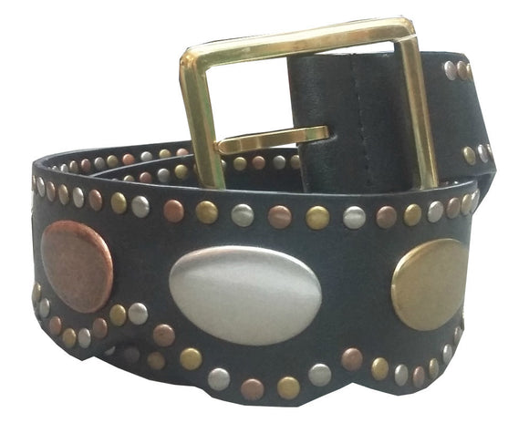 Tri Color Metal/Leather Belt - 9587