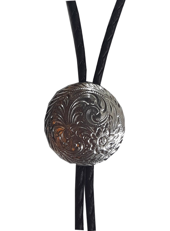Round Silver Engraved Bolo Tie