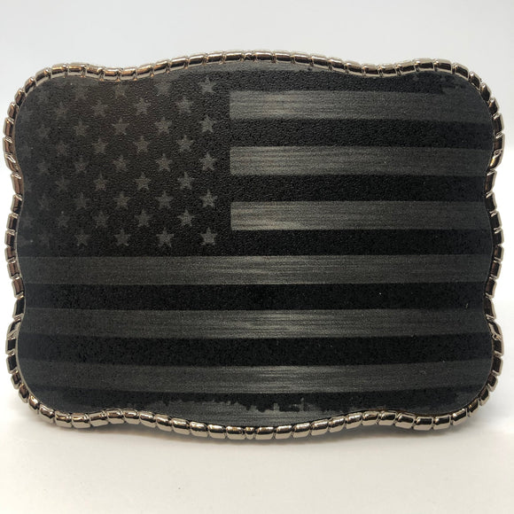 Wallet Buckle Black & Chrome American Flag