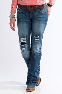 Cruel Abby Slim Fit Lace Patched Destruction Jeans - CB12254071