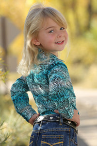 Cruel Girl Infant/Toddler Turquoise Southwest Print Western Snap Shirt - CTW3222002