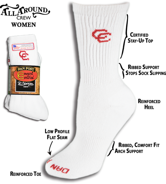 Dan Post Cowgirl Certified Socks - All Around Crew - DPCGM9