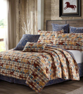 "Virah Bella® Collection - Pink Light Studios. ""Wild & Free Beige"" Printed Quilt Set - DQ10039FQ"