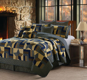 "Virah Bella® Collection - Phyllis Dobbs™ ""Woodland Star"" Blue Patchwork Quilt Set"