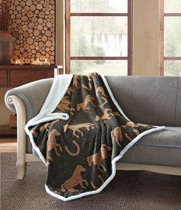 Virah Bella® Collection Horse Fleece Sherpa Throw
