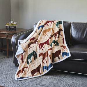 "Virah Bella® Collection - Phyllis Dobbs™ ""Horse"" Flannel Sherpa Throw"