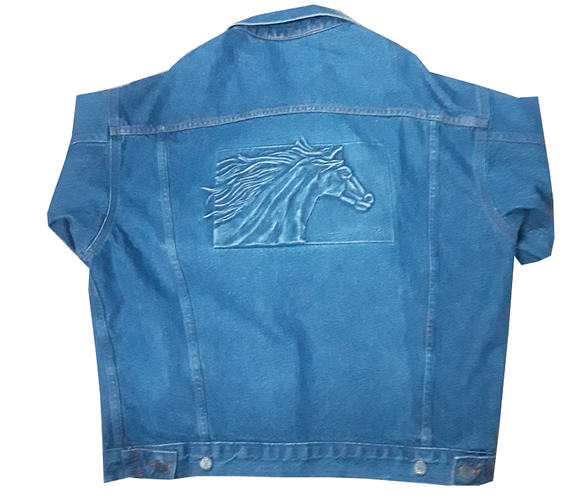 Horse Embossed Denim Jacket