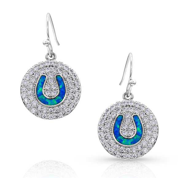 Montana Silversmiths Medallion Horseshoe Opal Earrings - ER4167