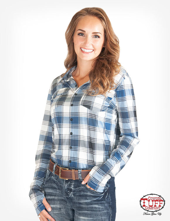 Cowgirl Tuff Coral Blue Plaid Sport Jersey Pullover - ET0053