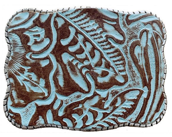 Wallet Buckle Embossed Turquoise Leather