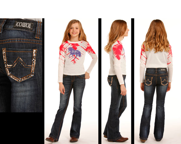 Rock and Roll Cowgirl Boot Cut Jeans    G5-3512