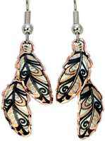 Copper Reflections Copper Double Feather Earrings - JM611