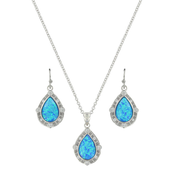 Montana Silversmiths Latticed Opal Teardrop Jewelry Set - JS3807