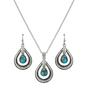 Montana Silversmiths Hitched Turquoise Teardrop Jewelry Set - JS3818