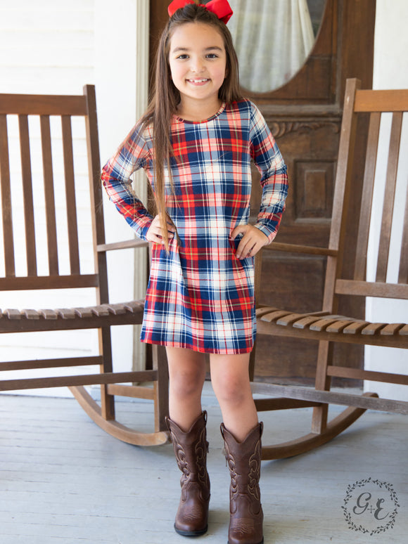 Grace & Emma Girls Plaid Dress - K4809B