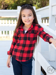 Grace & Emma Buffalo Plaid Girls Flannel Shirt   K5020-BF
