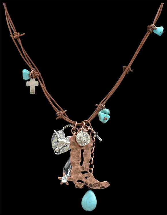 Justin Boot & Longhorn Necklace - N8905B