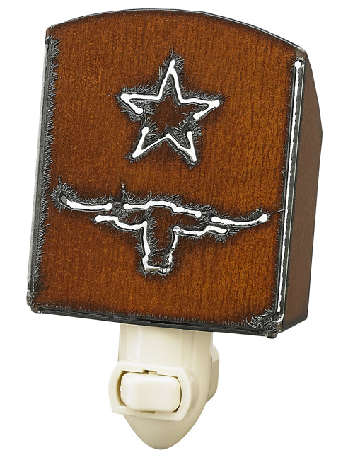 Rustic Iron Longhorn Nightlight