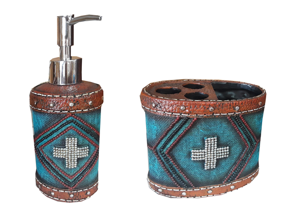 Turquoise Aztec Bathroom Set     RSM-1880