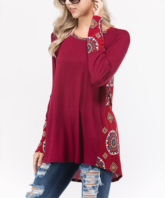 Sun N Moon Arabesque Contrast Fashion Top - T76253