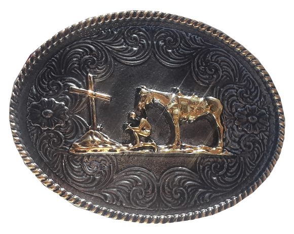 Kids Praying Cowboy Buckle - TBR220