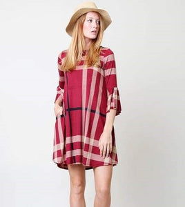 Red Plaid Ruffle Dress - VC3593RD